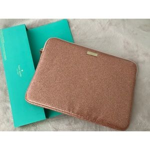KATE SPADE pink sparkly laptop case NWT